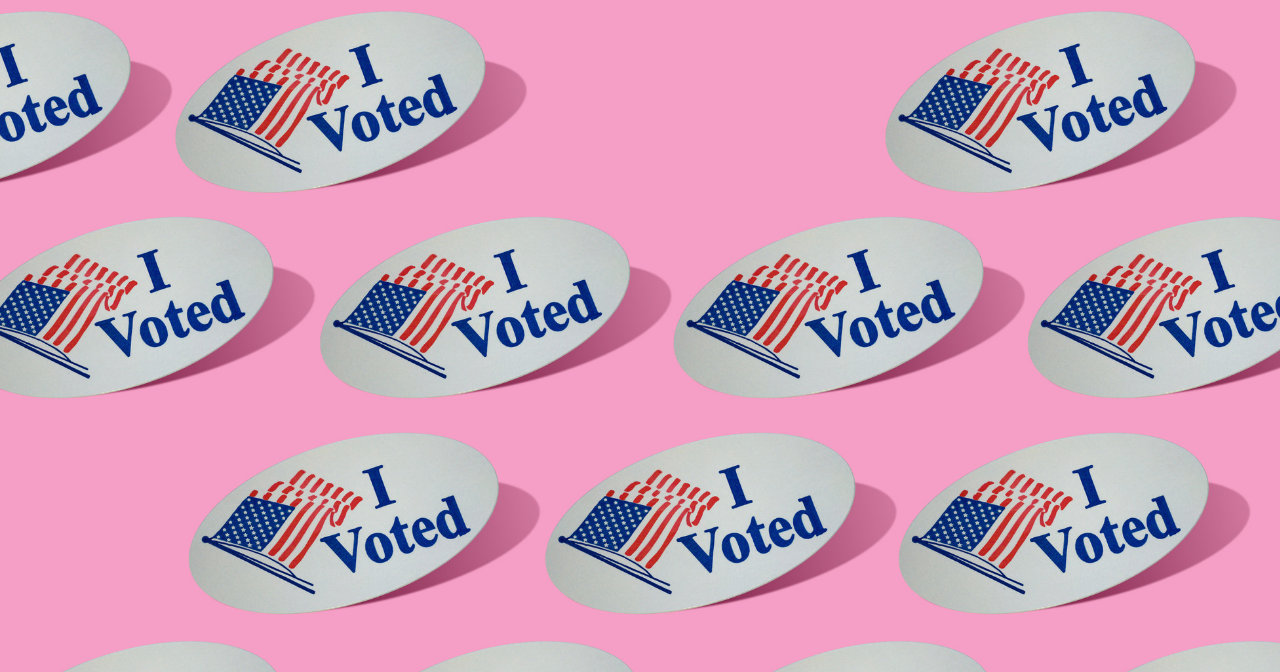 "a pink background with rows of ""I voted"" stickers"