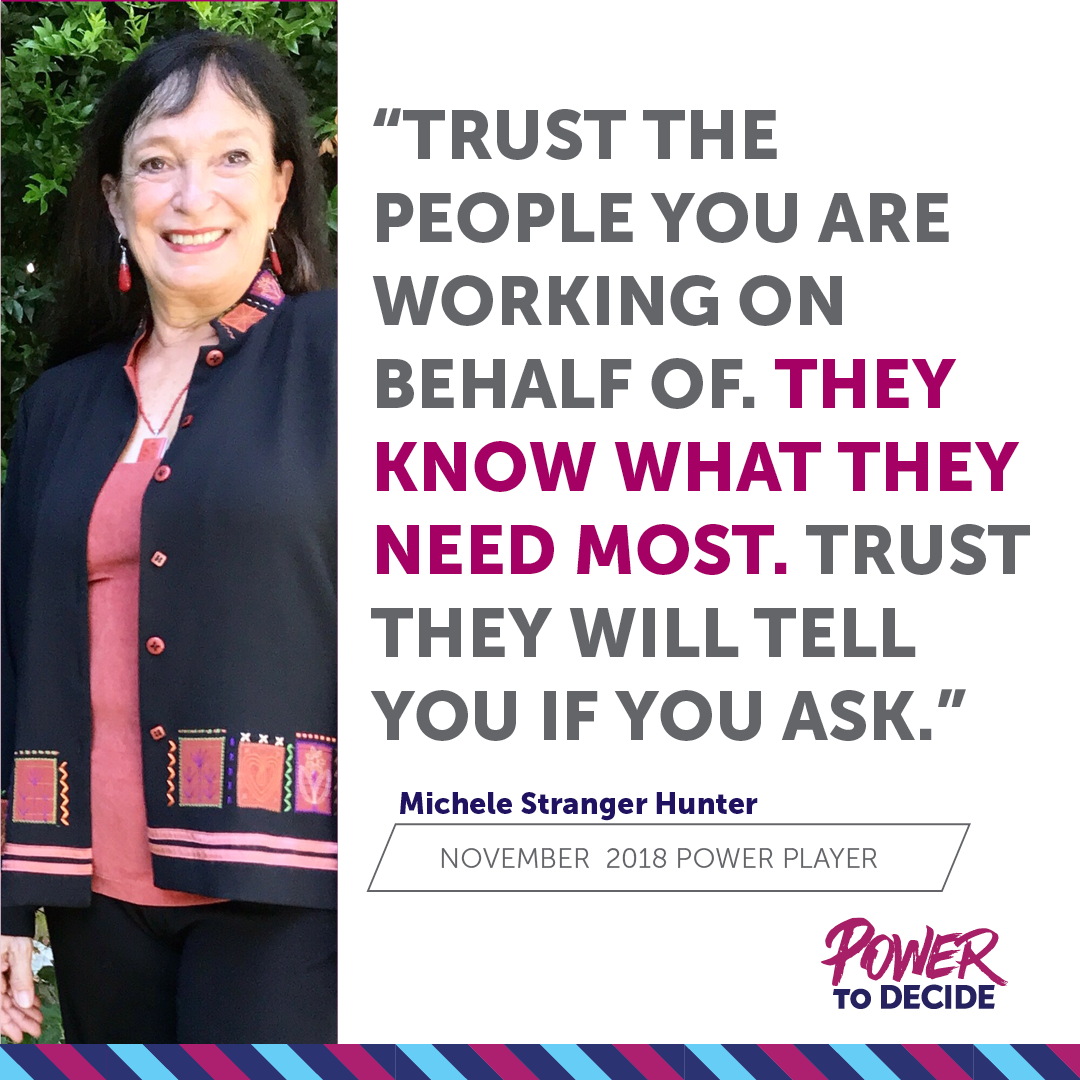 A photo of Michele Stranger-Hunter with a quote from the interview