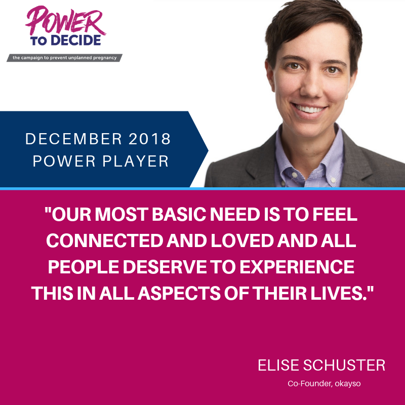 "A headshot of Schuster with a quote, ""Our most basic need is to feel connected and loved and all people deserve to experience this in all aspects of their lives."""