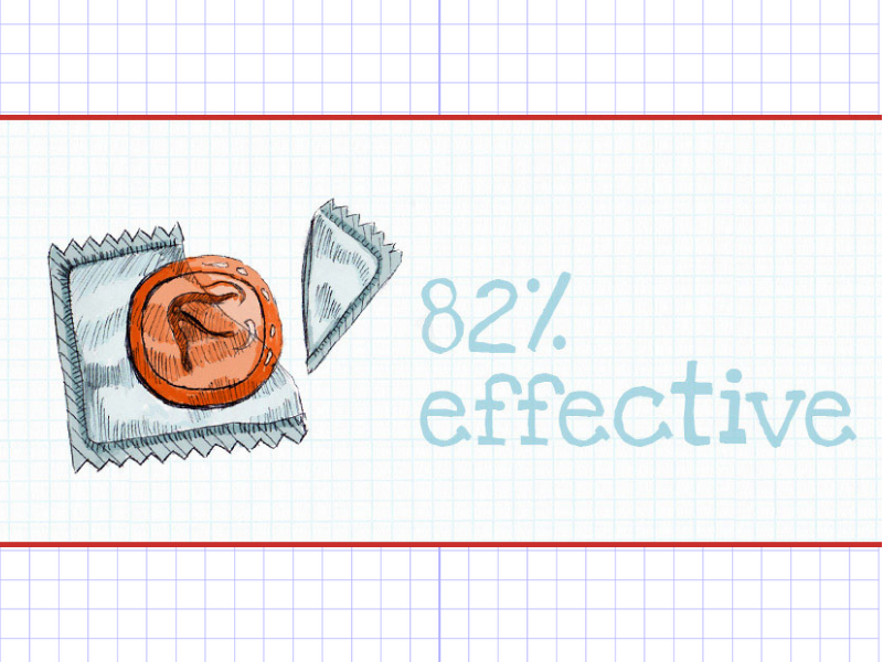 a graphic saying that condoms are 82% effective