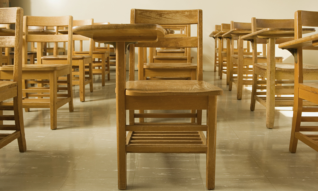 A classroom of wooden desks