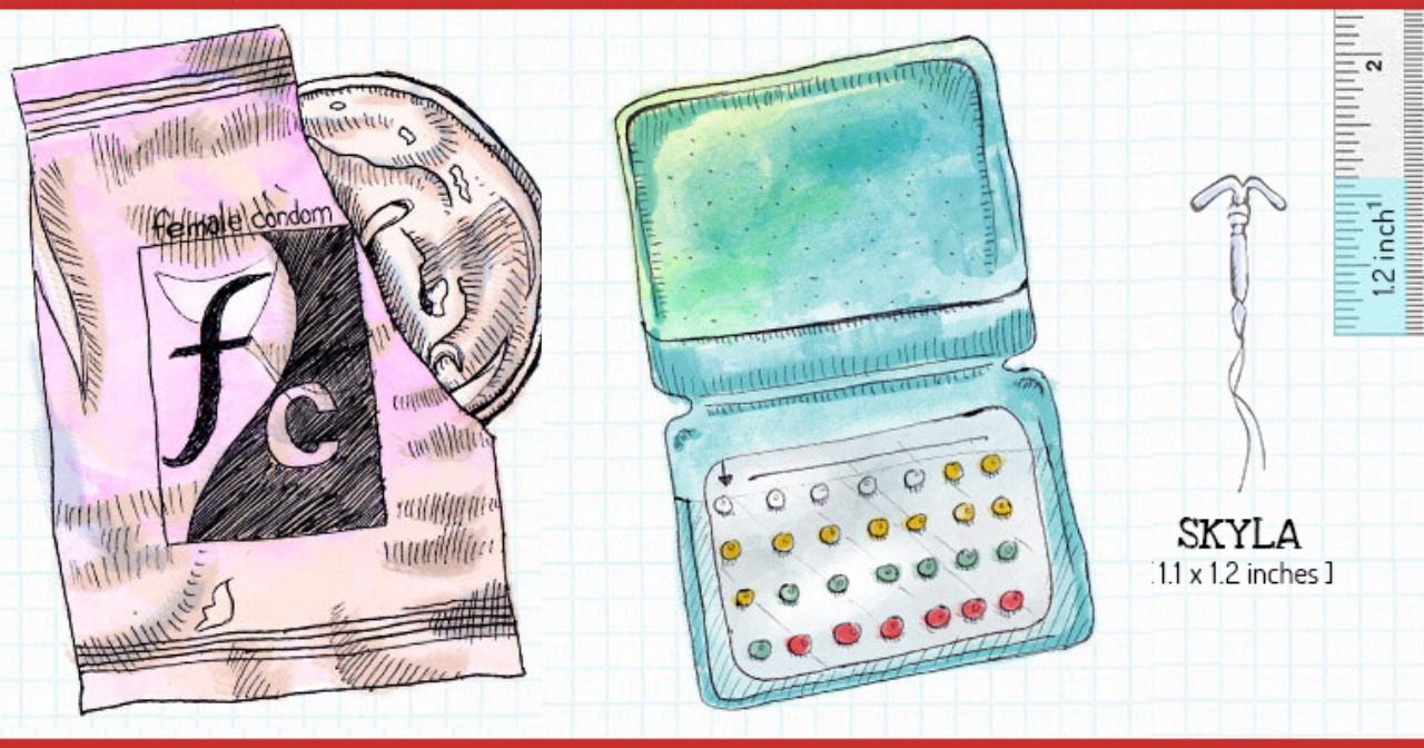 Hand drawn images of a female condom, birth control pill packs, and an IUD