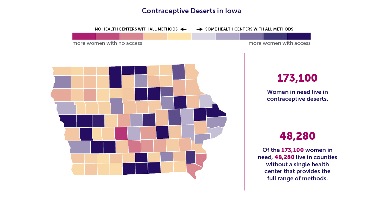 A map of Iowa showing the contraceptive deserts by county.