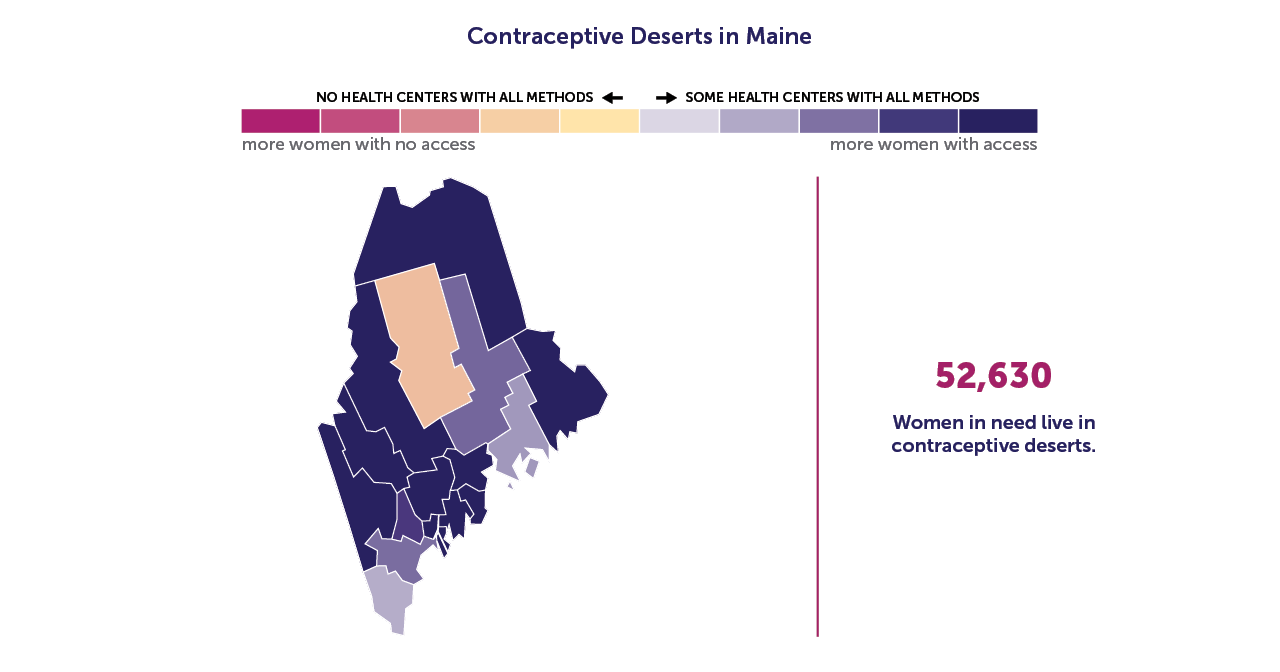 A map of Maine showing the contraceptive deserts by county.