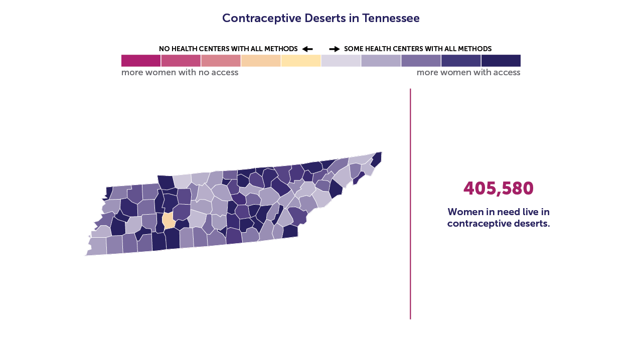 A map of Tennessee showing the contraceptive deserts by county.