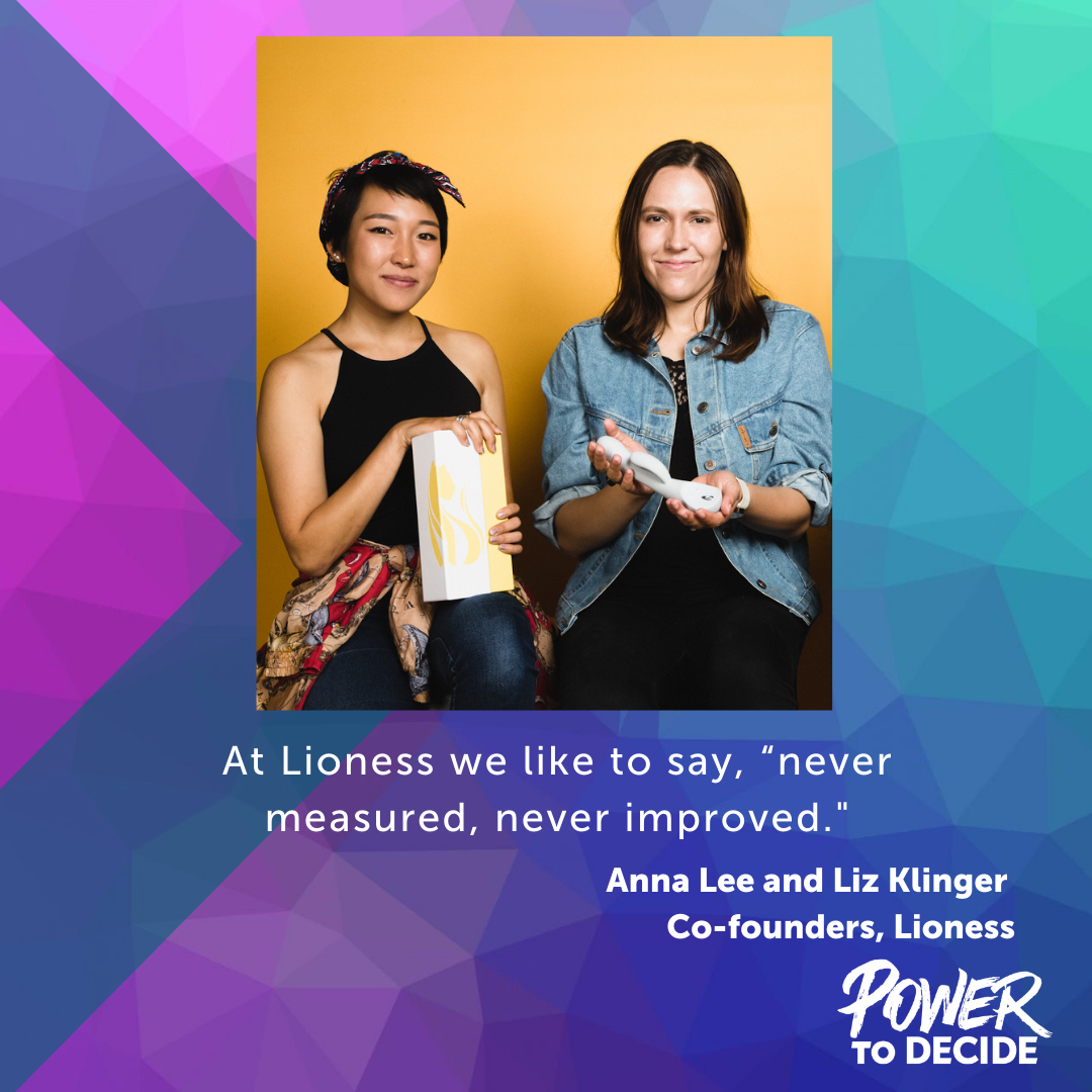 "A photo of Lioness co-founders and a quote from the interview, ""At Lioness we like to say, 'never measured, never improved.'"""