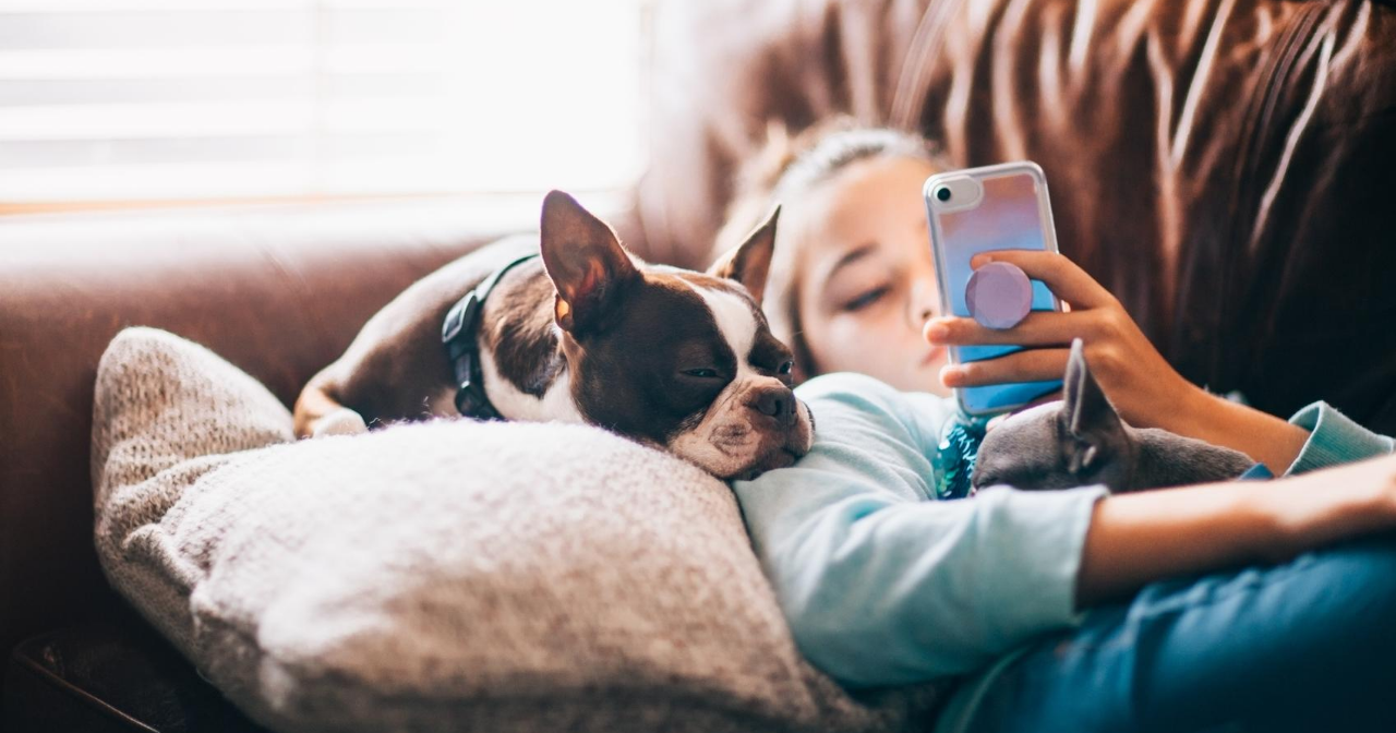 A young teen lays on the sofa with her dog while scrolling on her phone.
