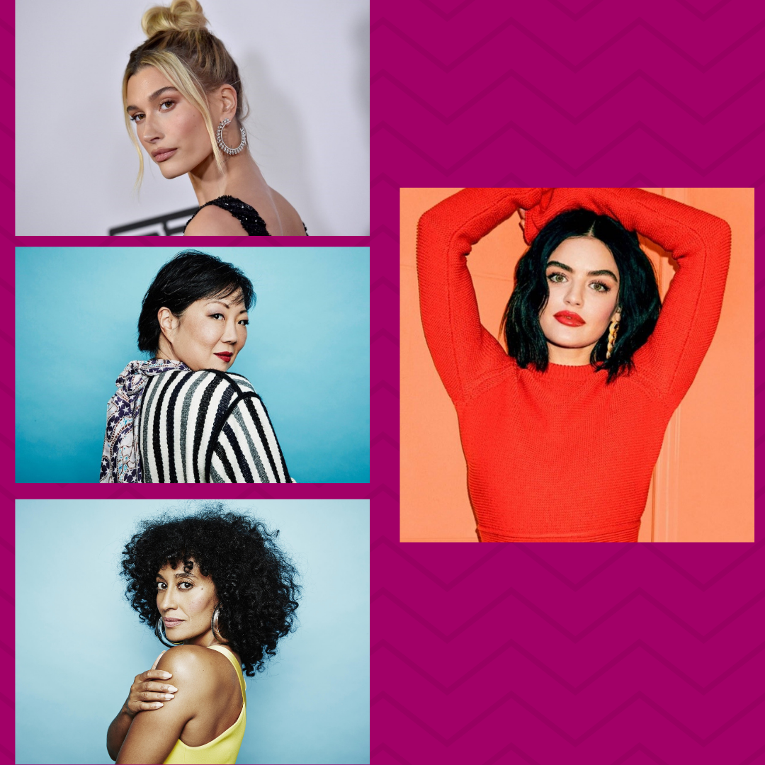 Photos of all four women featured in the blog: Lucy Hale, Margaret Cho, Hailey Bieber, and Tracee Ellis Ross.