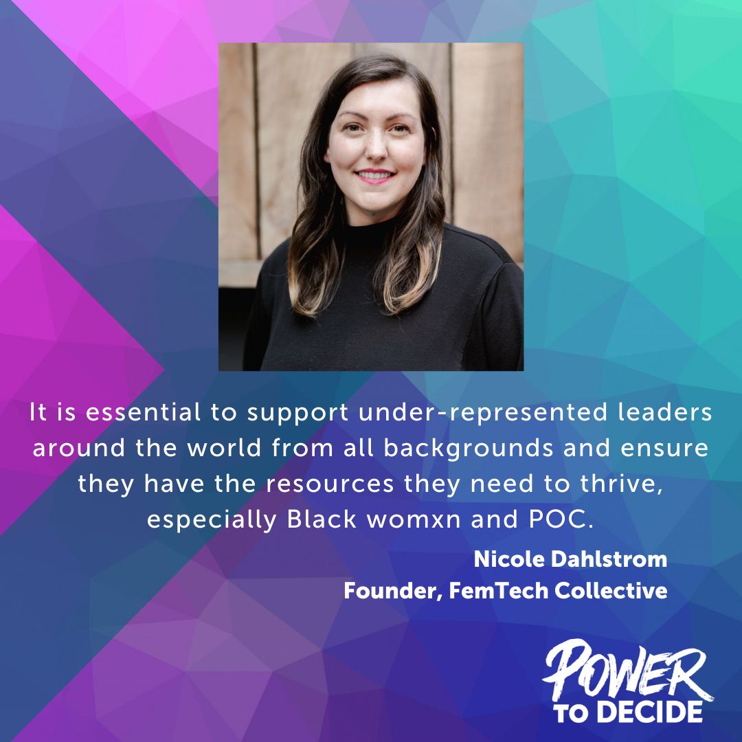 "A portrait of Dahlstrom and a quote from the interview, ""It is essential to support under-represented leaders around the world from all backgrounds and ensure they have the resources they need to thrive, especially Black womxn and POC."""