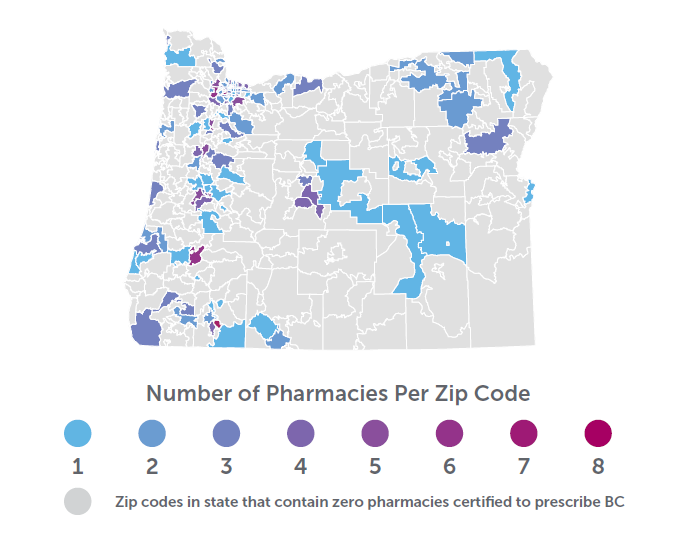 A map of the state of Oregon showing the number of pharmacies per zip code that prescribe birth control.