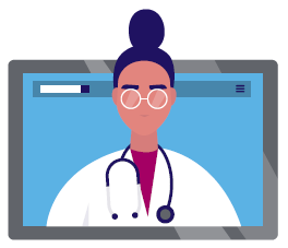 An icon of a provider popping out of a computer screen.