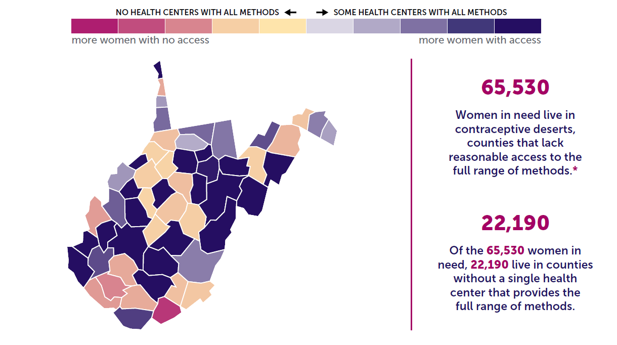 A map of the state of West Virginia showing birth control access by county.