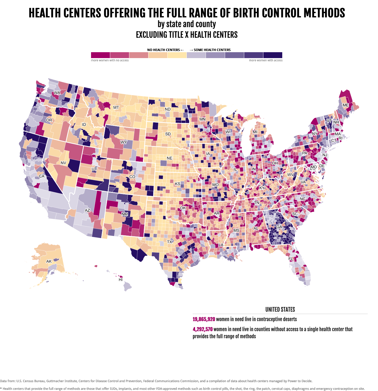 A map of contraceptive deserts in the US without Title X