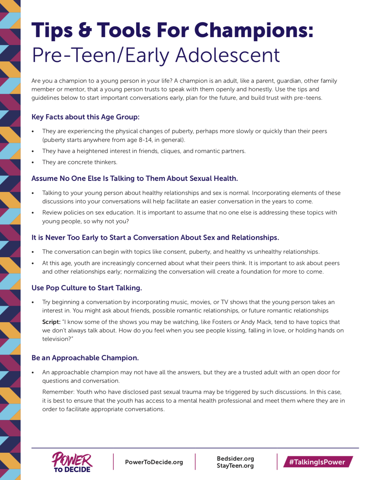 Tips & Tools For Trusted Adults: Pre-Teen/Early Adolescent