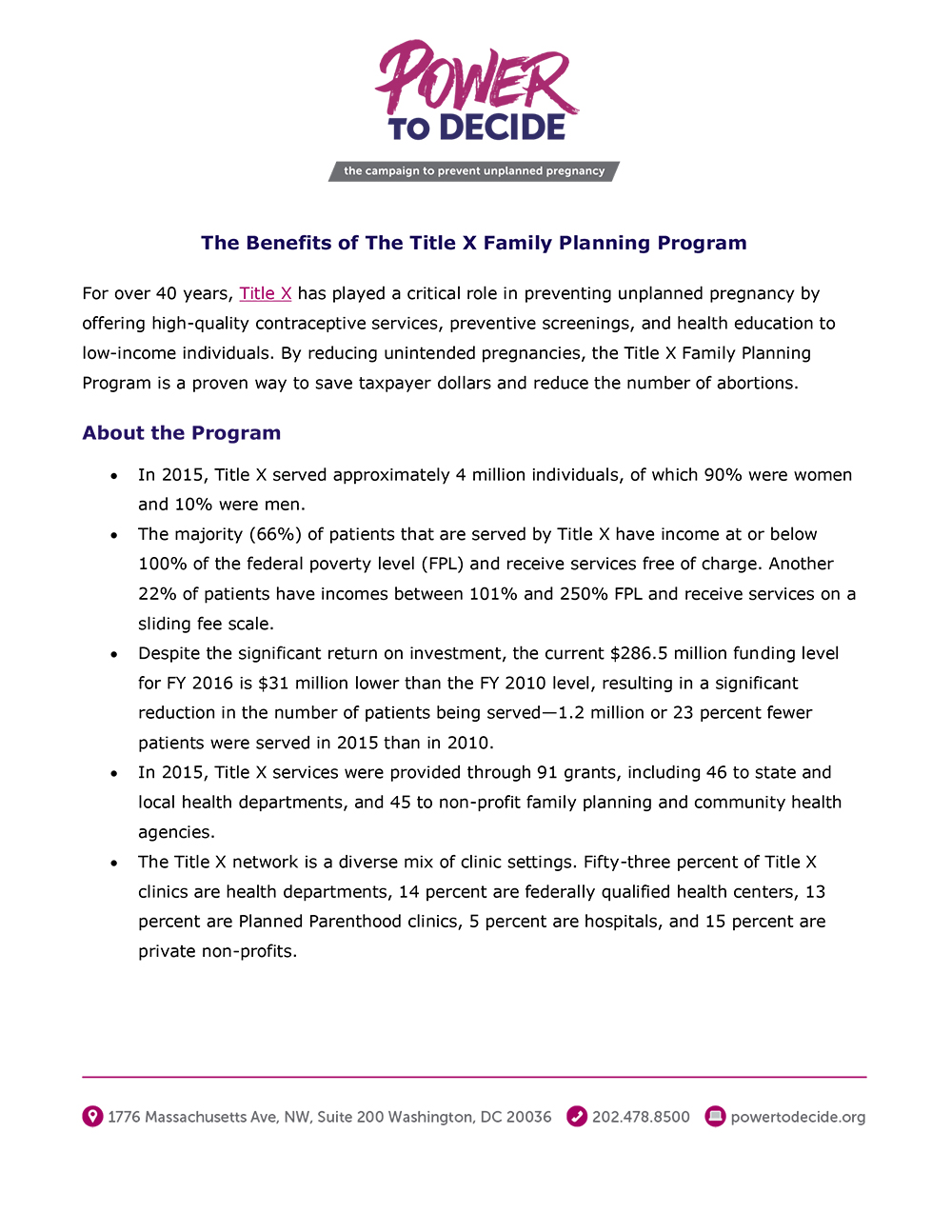 The Benefits of the Title X Family Planning Program