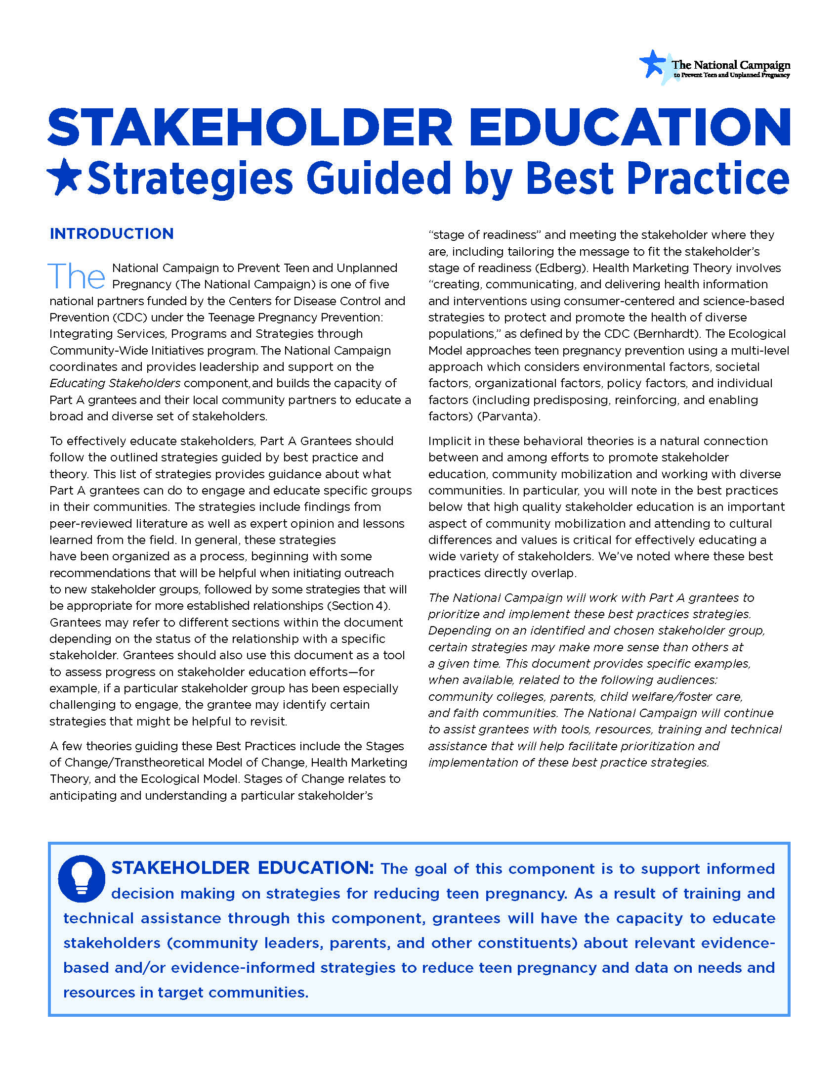 Stakeholder Education: Strategies Guided by Best Practice