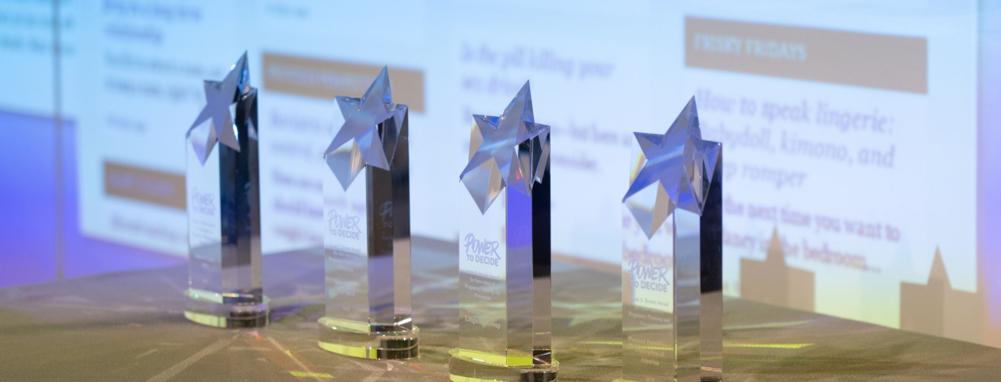 an image of the awards lined up on a table