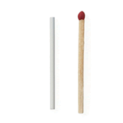 An image of an implant next to a single matchstick for a size comparison