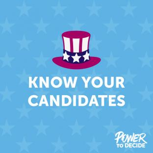 "A graphic of Uncle Sam's hat and the words, ""Know your candidates"""