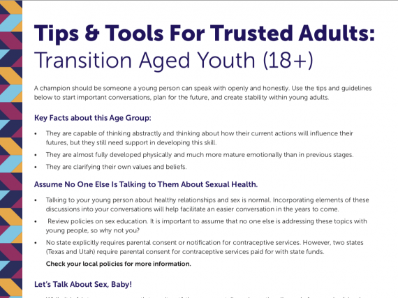 Tips & Tools For Trusted Adults: 18+