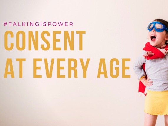 "A young girl in a superhero costume ""#TalkingIsPower: Consent At Every Age"""