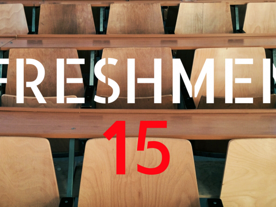 the words Freshmen Fifteen over a group of empty desks