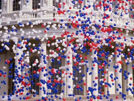 Balloons falling in front of the Capitol building