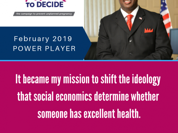 "Headshot of Swannie Jett with a quote, ""It became my mission to shift the ideology that social economics determine whether someone has excellent health."""