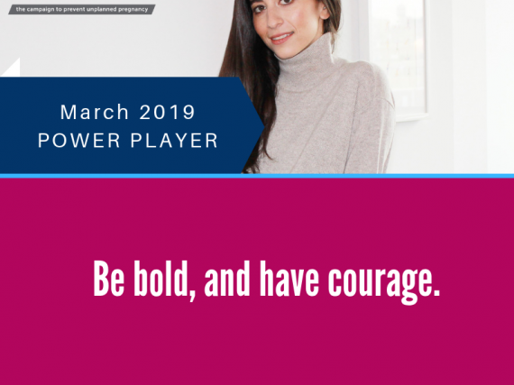 "Headshot of Meika Hollender with the quote, ""Be bold, and have courage."""