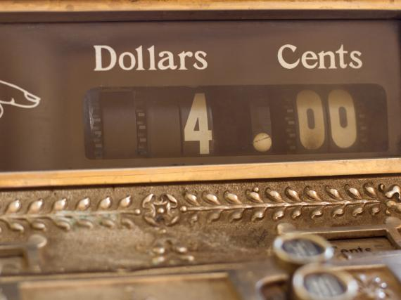 An image of a cash register showing $4.00