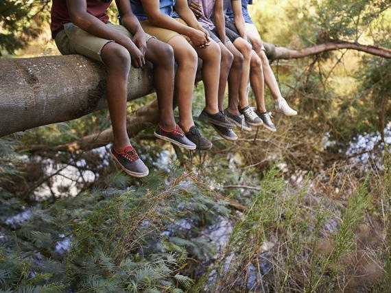 A group of teens sit on a branch with their legs dangling over