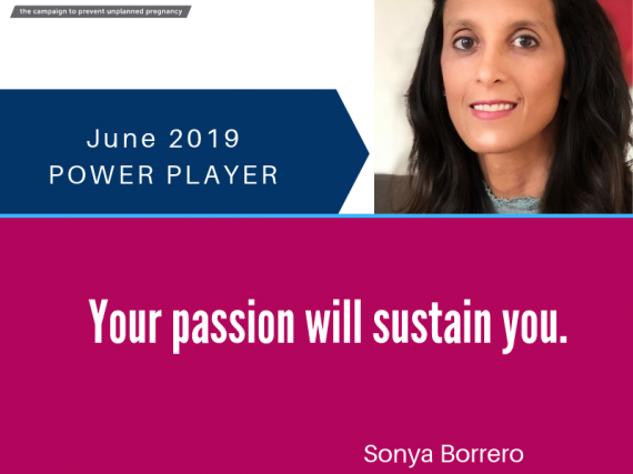 "A picture of Borrero and a quote, ""Your passion will sustain you."""