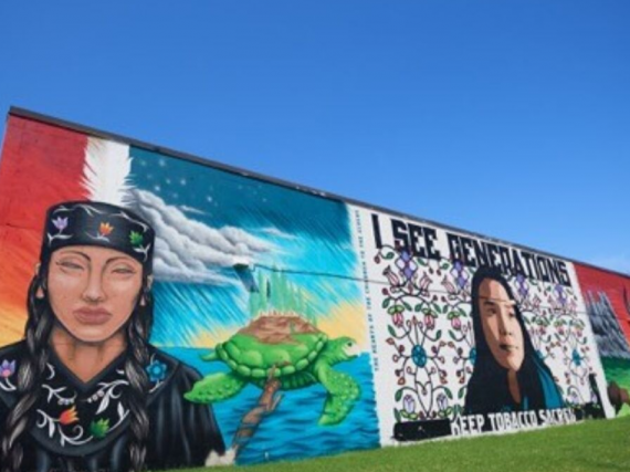 a mural of Indigenous women