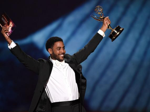 Jharrel Jerome accepts his award at the 71st Emmy Awards.