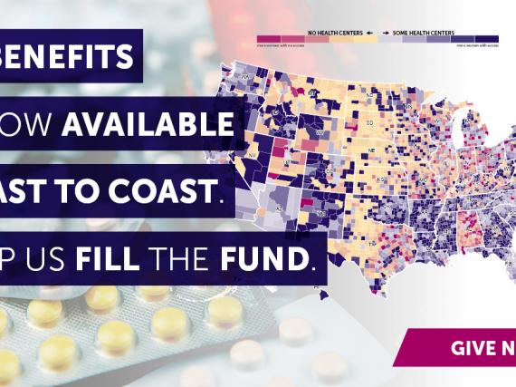 "A map of the US with the words, ""BCBenefits is now available coast to coast. Help us fill the fund."""