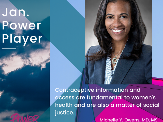 "Head shot of Owens and a quote, ""Contraceptive information and access are fundamental to women's health and are also a matter of social justice."""