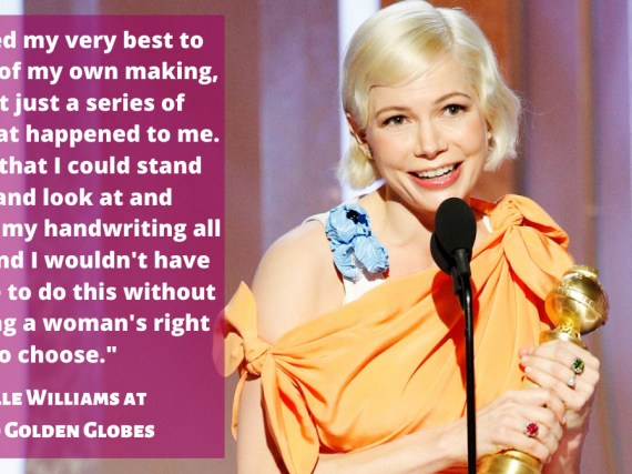 A photo of Michelle Williams giving her 2020 Globes speech and a transcript from the speech.