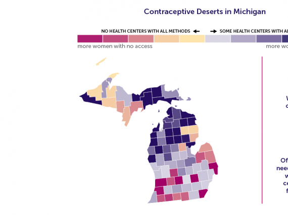 A map of Michigan showing the contraceptive deserts by county.