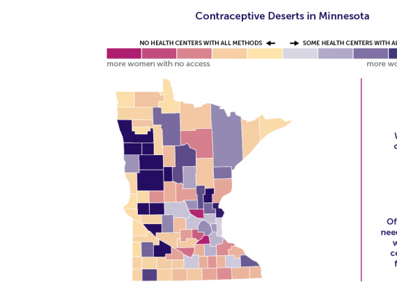 A map of Minnesota showing the contraceptive deserts by county.