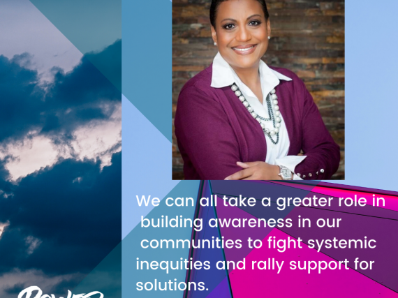 "Head shot of Stewart and a quote, ""We can all take a greater role in building awareness in our communities to fight systemic inequities and rally support for solutions."""