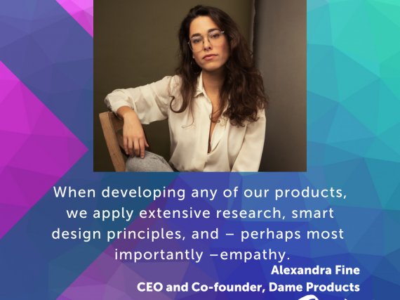"A headshot of Fine with a quote from the interview, ""When developing any of our products we apply extensive research, smart design principles, and -- perhaps most importantly -- empathy."""