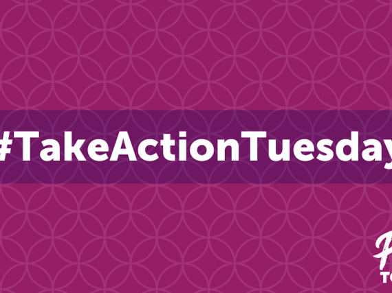 A purple card reading #TakeActionTuesday