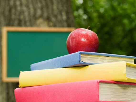 Outside, an apple sits on top of a pile of schoolbooks with a blackboard hung on a tree in the background.