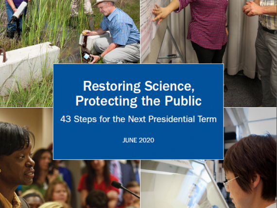 "The cover of the memo series and its title, ""Restoring Science, Protecting the Public."""