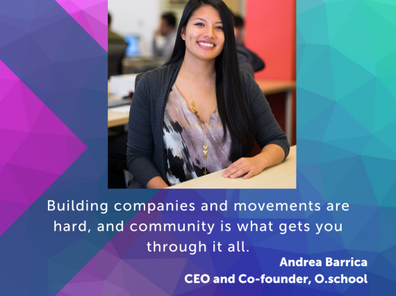 "A photo of Barrica and a quote from the interview, ""Building companies and movements are hard, and community is what gets you through it all."""
