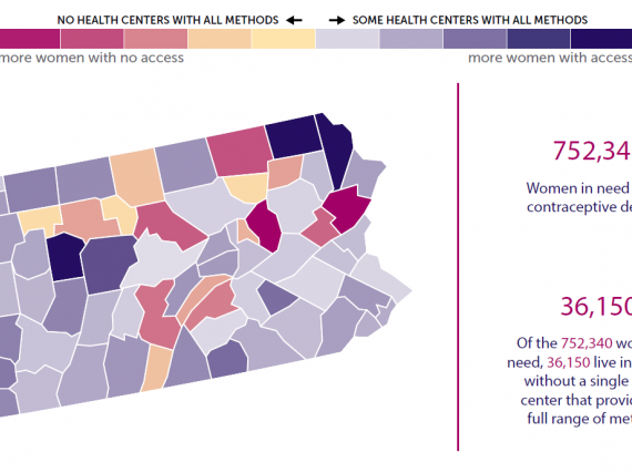 A map of the state of PA with it's contraceptive deserts outlined by county.