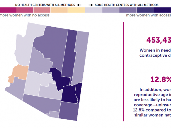 A map of Arizona showing the levels of contraceptive access by county.