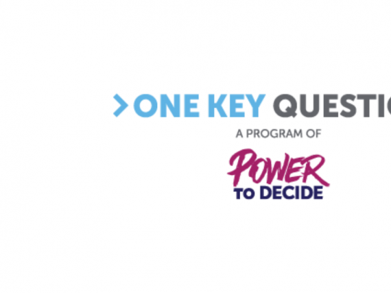 The logo of One Key Question on top of the logo of Power to Decide