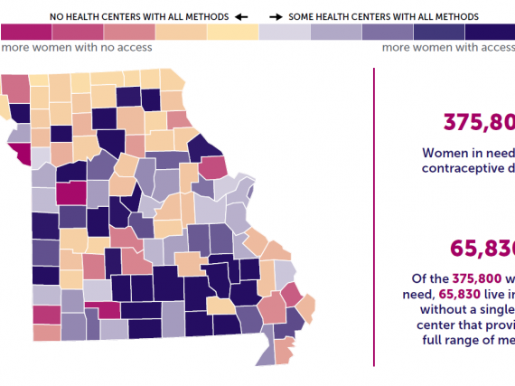 A map of the state of Missouri showing birth control access by county.