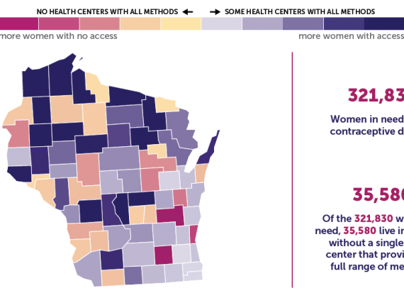 A map of Wisconsin showing the levels of contraceptive access by county.
